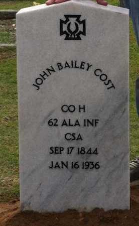 COST (VETERAN CSA), JOHN BAILEY - Chilton County, Alabama | JOHN BAILEY COST (VETERAN CSA) - Alabama Gravestone Photos