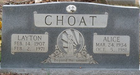 OLIVER CHOAT, ALICE LORAINE - Colbert County, Alabama | ALICE LORAINE OLIVER CHOAT - Alabama Gravestone Photos