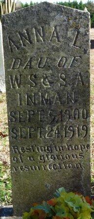 INMAN, ANNA L - Colbert County, Alabama | ANNA L INMAN - Alabama Gravestone Photos
