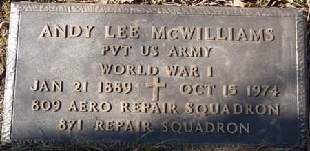 MCWILLIAMS (VETERAN WWI), ANDY LEE - Colbert County, Alabama   ANDY LEE MCWILLIAMS (VETERAN WWI) - Alabama Gravestone Photos