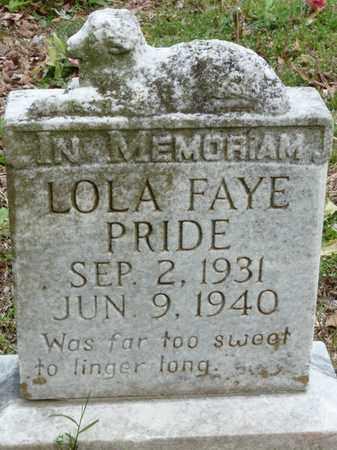 PRIDE, LOLA FAYE - Colbert County, Alabama | LOLA FAYE PRIDE - Alabama Gravestone Photos