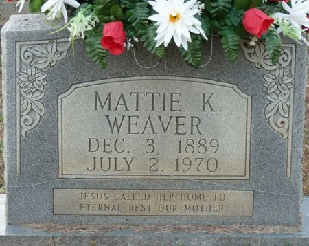 "WEAVER, MARTHA ""MATTIE"" - Colbert County, Alabama   MARTHA ""MATTIE"" WEAVER - Alabama Gravestone Photos"