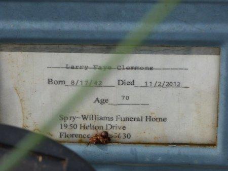 CLEMMONS, LARRY FAYE - Lauderdale County, Alabama | LARRY FAYE CLEMMONS - Alabama Gravestone Photos