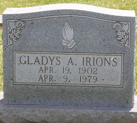 IRIONS, GLADYS A - Lauderdale County, Alabama   GLADYS A IRIONS - Alabama Gravestone Photos