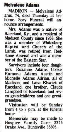 "CAMPBELL ADAMS (OBIT), MELVALENE ""GANGI"" - Madison County, Alabama | MELVALENE ""GANGI"" CAMPBELL ADAMS (OBIT) - Alabama Gravestone Photos"