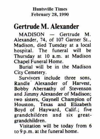 ALEXANDER (OBITUARY), GERTRUDE M - Madison County, Alabama | GERTRUDE M ALEXANDER (OBITUARY) - Alabama Gravestone Photos