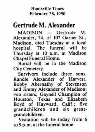 ALEXANDER (OBITUARY), GERTRUDE M - Madison County, Alabama | GERTRUDE M ALEXANDER (OBITUARY) - Alabama Gravestone Photos