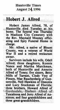 ALLRED (OBITUARY), HOBERT JAMES - Madison County, Alabama | HOBERT JAMES ALLRED (OBITUARY) - Alabama Gravestone Photos