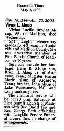 BROYLES ALSUP (OBITUARY), VIVIAN LUCILLE - Madison County, Alabama | VIVIAN LUCILLE BROYLES ALSUP (OBITUARY) - Alabama Gravestone Photos