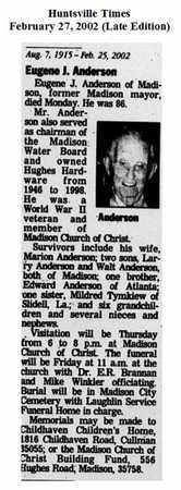 ANDERSON (OBIT) (VETERAN WWII), EUGENE JAVIS - Madison County, Alabama | EUGENE JAVIS ANDERSON (OBIT) (VETERAN WWII) - Alabama Gravestone Photos