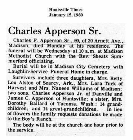 APPERSON, SR. (OBITUARY), CHARLES FORD - Madison County, Alabama | CHARLES FORD APPERSON, SR. (OBITUARY) - Alabama Gravestone Photos