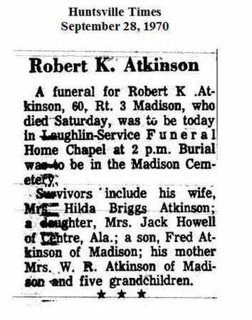ATKINSON (OBITUARY), ROBERT KERMIT - Madison County, Alabama | ROBERT KERMIT ATKINSON (OBITUARY) - Alabama Gravestone Photos