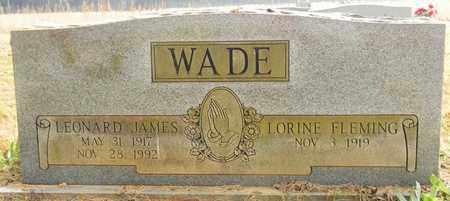 WADE, LEONARD JAMES - Madison County, Alabama | LEONARD JAMES WADE - Alabama Gravestone Photos