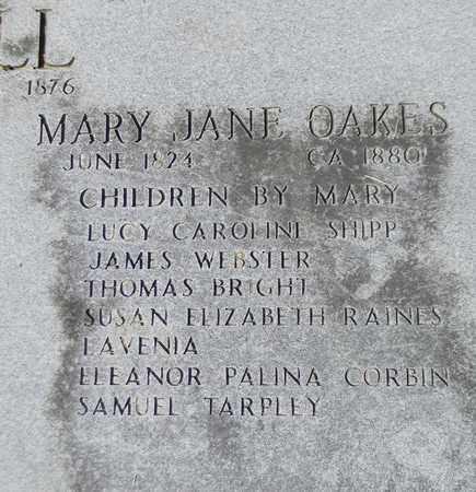 OAKES (CLOSEUP), MARY JANE - Marshall County, Alabama   MARY JANE OAKES (CLOSEUP) - Alabama Gravestone Photos